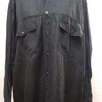 1980's~ メンズシルクシャツBLACK/size 42