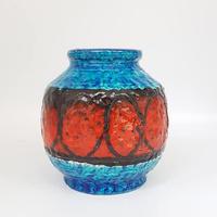 1960's~70's BAY keramik社製 ターコイズブルー×レッドのfatlavaベース/WK240