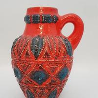 1960's  BAY keramik社製 Bodo Mansデザイン レッド×ブルー レリーフモチーフ  ジャグベース/WK174