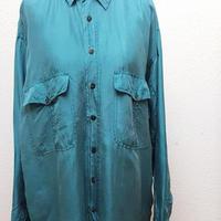 1980's~ メンズシルクシャツTURQUOISE ターコイズ/size M**送料込み**