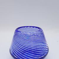 1990's フィンランド Hippo grass製 作家ものブルーのグラスベース /GR060