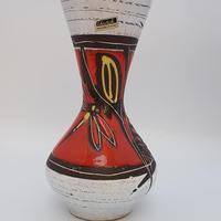 1960's scheurich社製・Heinz Sieryデザイン トンボ柄レッド×ホワイト フラワーベース/WK159