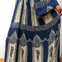 マキシ丈アフリカンドレス BLUE