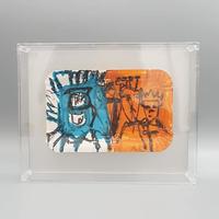ベルリン好きに 子供の落書き風のペイント立体フレーム付きB/ ORANGE×TURQUOISE DG027