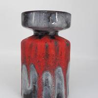 1960's~70's otto keramik グレーブラック×レッド fat lavaフラワーベース /WK239