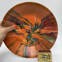 マーブル模様 壁掛け飾り皿φ22cm ・Orange /DK186
