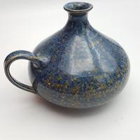 ドイツ製/作家ものの小さい花瓶 ブルー×キャメル天目釉 DK010
