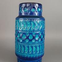1960's~70's  BAY keramik社製 Bodo Mansデザイン レッド×ブルー レリーフモチーフ ジャグベース/WK187