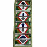 グリーン・旧ユーゴスラビア製ヴィンテージキリム、タペストリー、テーブルセンター、ミニマット ピロトラグ 79cm(91cm)×28cm/DGR06