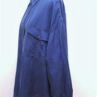 1980's~ メンズシルクシャツWORK BLUE /KARAOKE/size XXL**送料込み**