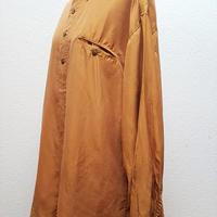 1980's~ メンズシルクシャツMASTARDイエロー/size 40-M**送料込み**