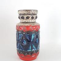 1960's BAY keramik社製 Bodo Mansデザイン レッド×ターコイズブルー レリーフモチーフ フラワーベース68/WK268