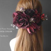 バーガンディローズのヘッドドレス/ヘアアクセサリー*結婚式・成人式・ウェディングドレスに