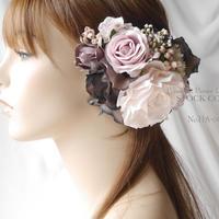 シックなアンティークカラー(グレイッシュピンク)*ヘッドドレス/ヘアアクセサリー*結婚式・成人式・ウェディングドレスに