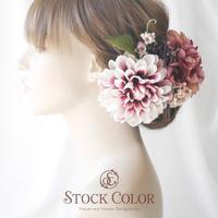 ダリアとミニローズのヘッドドレス ヘアアクセサリー(アイボリーピンク)*結婚式・成人式・ウェディング 前撮り 髪飾り