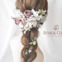 ミルフィーユローズと紫陽花のヘッドドレス/ヘアアクセサリー*結婚式 ウェディング 成人式 卒業式 前撮り 髪飾り