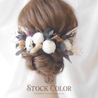 ポンポンマムとユーカリのヘッドドレス・ヘアアクセサリー*ウェディング 結婚式 白無垢 和装 成人式 前撮り 髪飾り