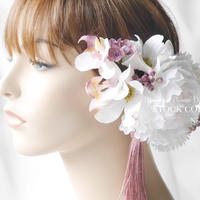 ピオニーとハナミズキのヘッドドレス/ヘアアクセサリー*結婚式・成人式・ウェディングドレスに