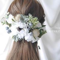 アネモネとローズのヘッドドレス/ヘアアクセサリー(ナチュラルホワイト)*結婚式・成人式・ウェディングドレスに