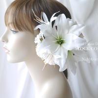 ユリとカーネーションのヘッドドレス/ヘアアクセサリー*結婚式・成人式・ウェディングドレスに