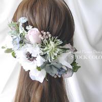 アネモネとローズのヘッドドレス/ヘアアクセサリー(ナチュラルピンク)*結婚式・成人式・ウェディングドレスに