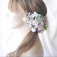 ピンクベージュローズのヘッドドレス/ヘアアクセサリー*結婚式・成人式・ウェディングドレスに