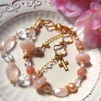 ◆ローズクォーツ&ピンクオパールの2連ブレス