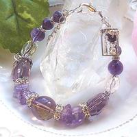 ボリビア産アメトリン&アメジスト&チャロアイトの宝石ブレス