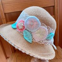 夏帽子 お花