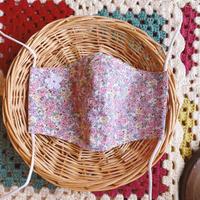 マスク 小花 手編みモチーフ付き ピンク