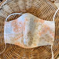 おしゃれマスク 刺繍綿レース/サーモン