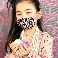 I SPARK・kids  Mask  (子ども用 立体マスク)K-14 ピンクヒョウ×小花切り替え
