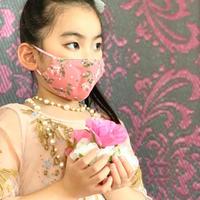 I SPARK・kids  Mask  (子ども用 立体マスク)K-15  ピンク小花xonピンクドットレース