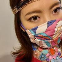 I SPARK  Mask(プリーツマスク) I-10  PIスカーフxPIドット切り替え