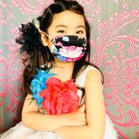 I SPARK・kids  Mask  (子ども用 プリーツマスク)K- 8  ピンク花×ヒョウ切り替え