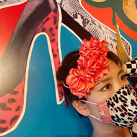 I SPARK  Mask(立体マスク) I-15   ピンクヒョウx小花切り替え
