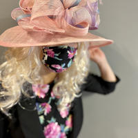 I SPARK  Mask(プリーツマスク) I-3  ピンク花xヒョウ切り替え
