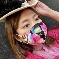 I SPARK  Mask(立体マスク) I-2  ピンク花xヒョウ切り替え