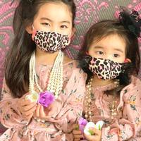 I SPARK・kids  Mask  (子ども用 立体マスク)K-13 ピンクヒョウ×黒フリル