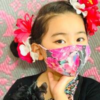 I SPARK・kids  Mask  (子ども用 立体マスク)K- 11  ピンク花×onピンクドットレース