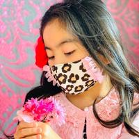 I SPARK・kids  Mask  (子ども用 立体マスク)K-1 ヒョウ柄/on ピンクミニフリル