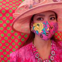 I SPARK  Mask (立体マスク) ショッキングピンクx花柄