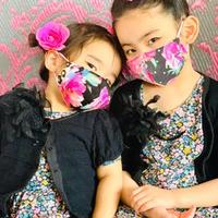 I SPARK・kids  Mask  (子ども用 立体マスク)K- 12  ピンク花×ヒョウ切り替え