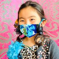 I SPARK・kids  Mask  (子ども用 立体マスク)K- 6 ブルー花/ブラックフリル