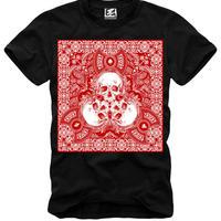 (イーワンシンジゲート)e1syndicate スカル バンダナ パロディ スケート・バンド・ロック Tシャツ(SPEND/RUDE/スペンド/ルード風)