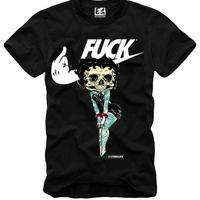 (イーワンシンジゲート)e1syndicate Betty Off Boob(ベティちゃん) パロディ スケート・バンド・ロック Tシャツ(SPEND/RUDE/スペンド/ルード風)