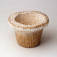 陶器製(2号ポット相当)多肉植物の欲しがる植木鉢  AAScd-2935ブラウン