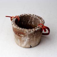 陶器製(2号ポット相当)多肉植物の欲しがる植木鉢 PR-+革ベルト- 3068