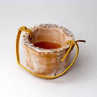 陶器製(2号ポット相当)多肉植物の欲しがる植木鉢 PR-+革ベルト- 3059