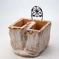 陶器製 多肉植物の欲しがる植木鉢 C-26箱庭ワイヤー付-8242